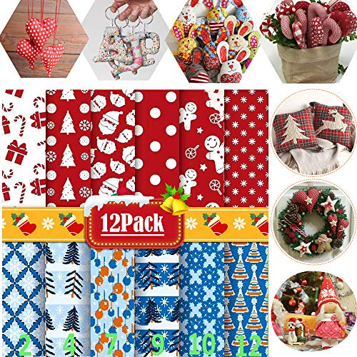 "DOZZIOR 12Pcs Christmas Fabric Fat Quarters Bundle Quilting Sewing Patchwork Cloth Precut (20"" x 20"") 100% Cotton Print Poplin Fabric Christmas Trees Santa Claus Fabric for Christmas DIY Quilting"