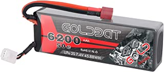 GOLDBAT 2S LiPo Battery, 6200mAh 7.4V 50C RC Battery Hard Case with Deans Plug for RC Evader BX Car RC Truck RC Truggy RC Heli Airplane Drone FPV Racing (6200-2S-50C)