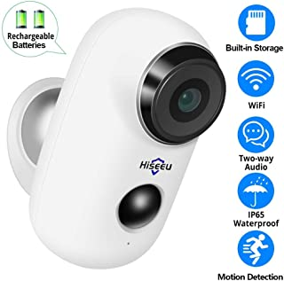 【32GB Preinstalled】1080P Battery Powered Outdoor Camera,Wireless Home Security Camera,Two-Way Audio,App Remote,IP65 Waterproof,Night Vision,Rechargeable Batteries,2.4GHz WiFi,9 Months Encrypted Record