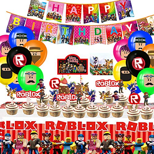 Robot Blocks Party Supplies for Kids'Birthday, Ro-blox Decorations Included Banners, Cake Topper, Cupcake Toppers, Tablecover, Napkins and Balloons for Kids Party Supplies Robot Blocks Birthday Party Decorations