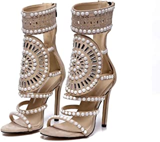 Hollow Fish Mouth High-heeled Sandals, Summer Fine-heeled Suede Sandals, Roman Style Women's High-top Mesh Shoes