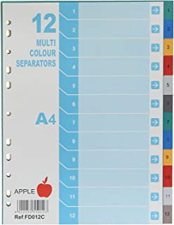 Apple FD012C Plastic Colored Dividers, 12 Dividers