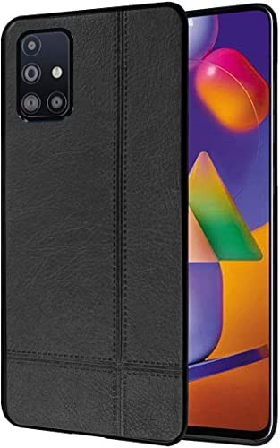 Amazon Brand Solimo Leather Mobile Cover For Soft Flexible Back Case For Samsung Galaxy M31s Black