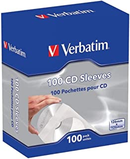 Verbatim CD/DVD Paper Sleeves-with Clear Window 100pk