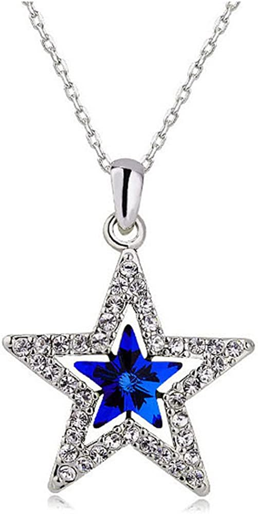 Amazon Com Muzhe Blue Crystal Star Necklace Double Sapphire Five Point Star Necklace Lucky Star Necklace For Women Girls Blue Jewelry