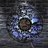 死んだ骨格ヘッド壁時計はビニールレコードヴィンテージハンギング積み上げ頭蓋骨壁アートハロウィンホラー装飾ビニール時計(サイズ:12インチ LED付き)