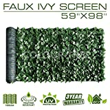 """ColourTree 59"""" Tall Artificial Hedges Faux Ivy Leaves Fence Privacy Screen Cover Panels Decorative Trellis - Mesh Backing - 3 Years Warranty (59"""" x 98"""")"""