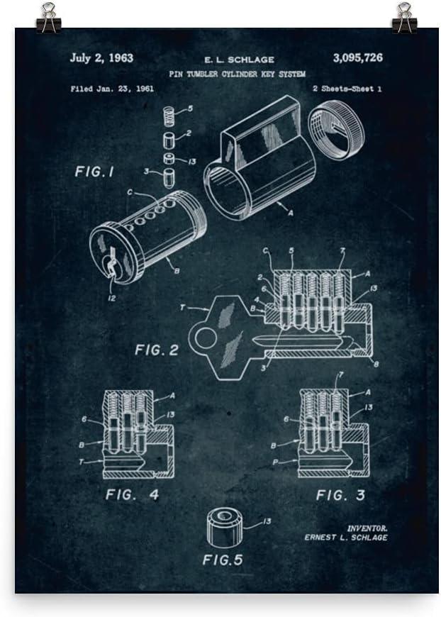 1961 - Pin Tumbler Cylinder Key Import Poster Blueprint Brand new Patent System V