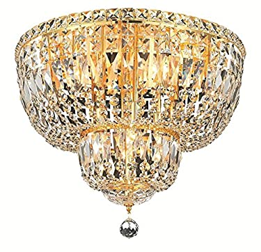 Elegant Lighting 2528F20G/RC Royal Cut Clear Crystal Tranquil 10-Light, Single-Tier Flush Mount Crystal Chandelier, Finished in Gold with Clear Crystals