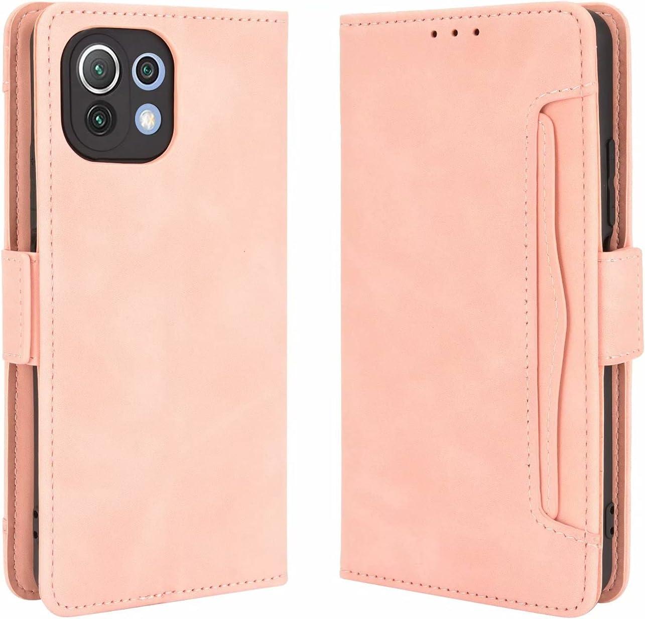 SOUFU Funda para Xiaomi Mi 11 Lite 5G/4G Funda,PU Cuero Flip Fundas Móvil de Tapa Libro con Effetto anticollisione e Anti para Xiaomi Mi 11 Lite 5G/4G Funda-Rosa