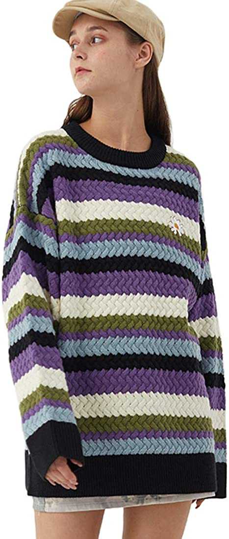 Vamtac Max 68% OFF 40% OFF Cheap Sale Women's Cotton Loose Sweater Block Striped Knitted Color