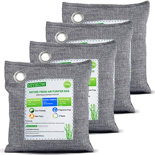 NIYIKOW Nature Fresh Bamboo Charcoal Air Purifying Bags (4 Pack x 200g), Charcoal Bags Odor Absorber, Moisture Absorber, Odor Eliminator for Home, Car, Closet, Pets, Basement