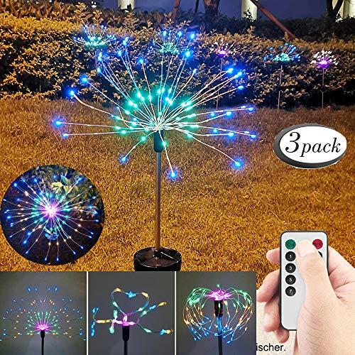 3pcs Solarleuchte Garten, 105 LED Solar Feuerwerk Licht, 8 Beleuchtungsmodi DIY Draussen Landschaft Licht Wetterfest Beleuchtung Dekoratives für Garten