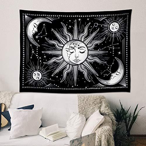 Wandteppich Sonne und Mond Psychedelic Wandtuch Wandbehang schwarz und weiß,mystischer Wandteppich als Wandkunst und Raumdekoration für Schlafzimmer,Wohnzimmer