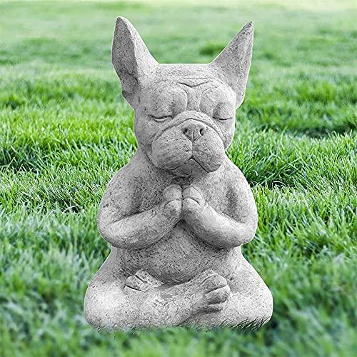 French Bulldog Garden Statue, Meditating French Bulldog Statue, Zen Animal Yoga Figurine, for Flower Beds Lawn Garden Decor Porch Outdoor Statue Decor