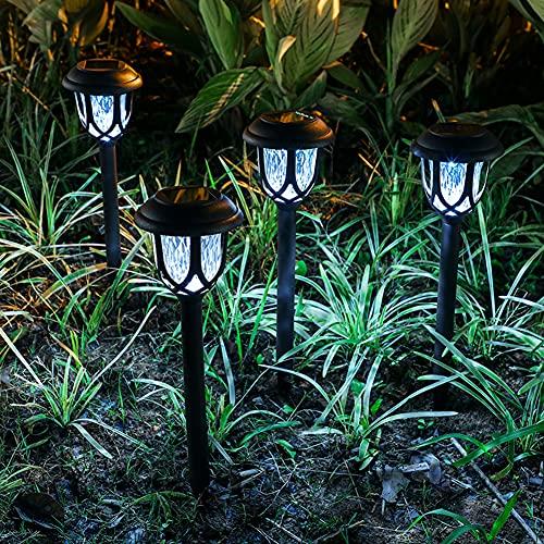 SANGSHI Lámparas solares para jardín, 6 unidades, luz solar LED, enchufables, de cristal, lámpara de paisaje, decoración
