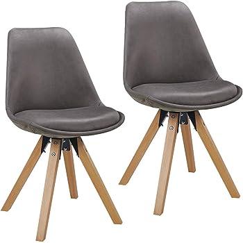 Duhome Chaise Salle à Manger Lot de 2 avec Coussin Design Retro Chaise scandinave avec Pieds en Bois WY 518M, Couleur:Gris foncé, matière:Tissu