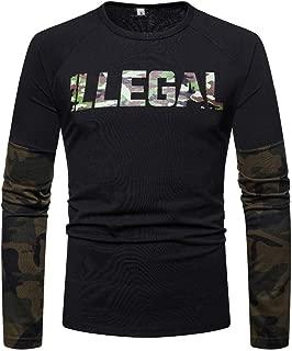 Mogogo Mens T-Shirt Top Color Block Fall Winter Round Neck Raglan Sweatshirt