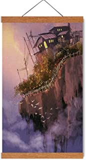 Fantasy Beautiful Magnetic Hanging Poster,Old House Over The Cliffs on High Pink Sky Dreamy World Magical Foggy Town Image for Livingroom,16''W x 25''H