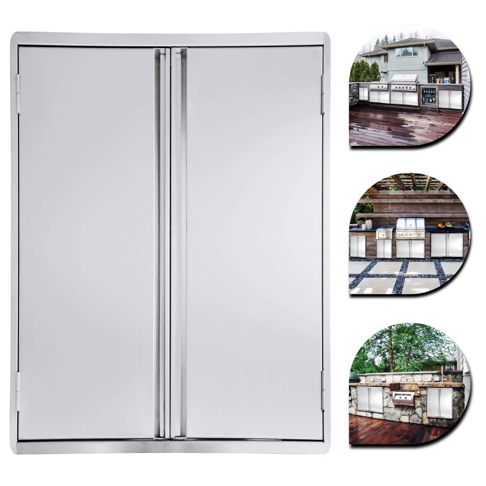 CIOGO Puertas de barbacoa de acero inoxidable 304 de 17 x 24 pulgadas, puerta de acceso