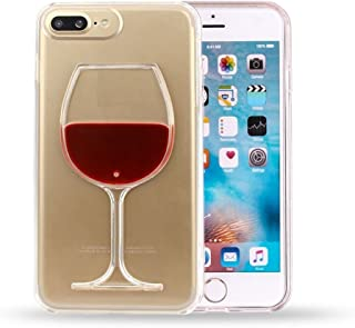 Glevel Iphone 7/8 Case,Cute Red Wine Glass 3d Creative Design Hard Shell Liquid Flowing Dual Layer Hybrid Bumper Double Protection Clear Hard Back Case Cover For Iphone 7/8