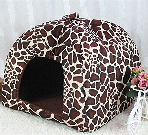 Joyfeel buy – Bella Fragola Calda Pet Nest Inverno Caldo Peluche Cuccia per Cani/Coccole/Cuccia per Gatti Letto Pieghevole Marrone Leopard