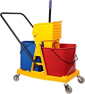 Moonlight Double Mop Bucket with Trolly and Wringer - 46 Liters, Multi Color