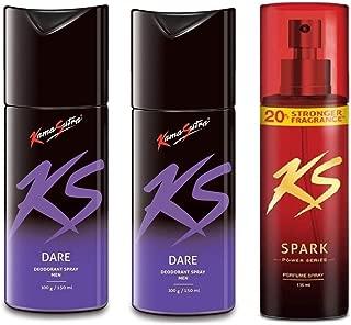 KamaSutra 2 Big (150ml Each) and 1 Power Series (135ml) Deodorant for Men's - Pack of 3 (Dare2-PowerSeries)