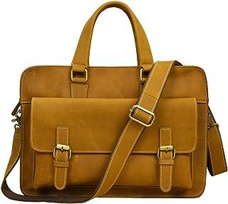 Genda 2Archer Men's Leather Handbag Briefcase With Shoulder Strap 39cm(L)*7cm(thickness)*28cm(H) Brown Yellow