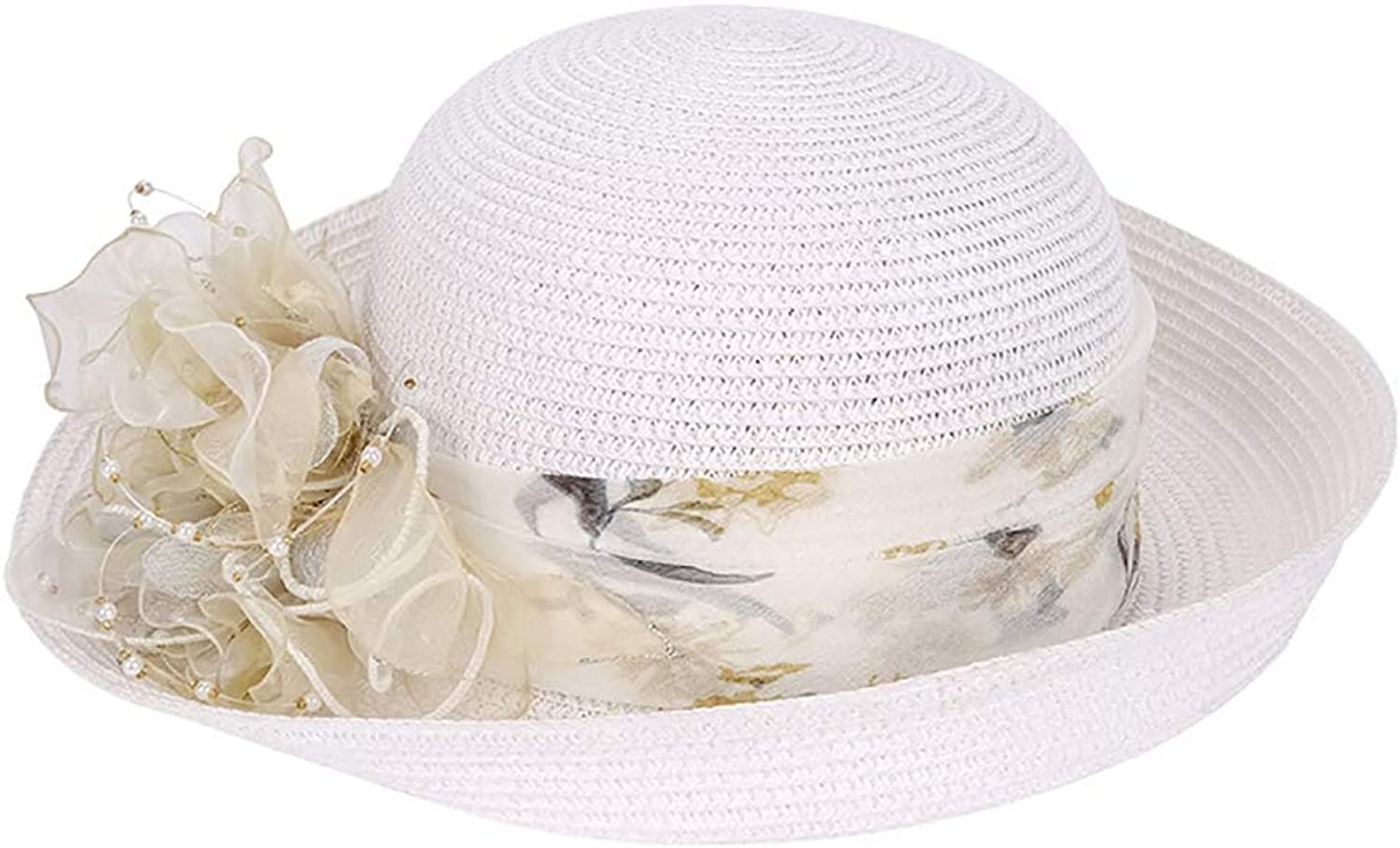 ESOCOME Top Hat England Sun Hat Spring and Summer Female Hat Hand Made Hat Woman White