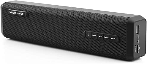 Music Angel Wireless Bluetooth Speaker, Portable Stereo Speaker with Loud Sound,10W Rich Bass,4000mAh Power Bank,24 Hour Playtime for Party, Camping, Sport(Black)