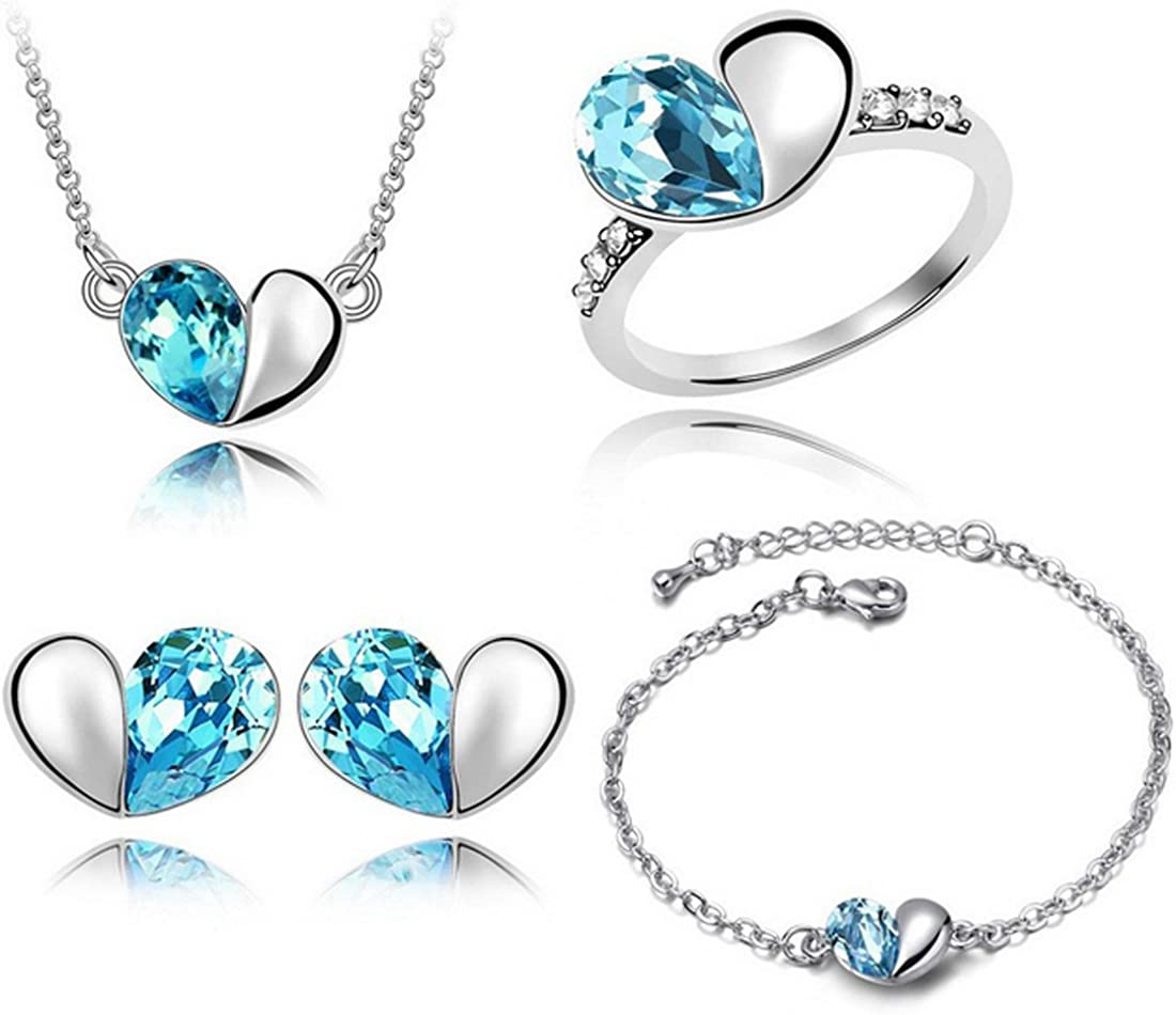 MAFMO Crystal Jewelry Set 4pcs Love Heart Shaped Necklace Bracelet Earrings Ring