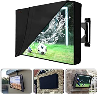 Outdoor TV Cover with Scratch Resistant Liner, Homeya Outside Waterproof Weatherproof Dust Resistant Slim Fit Television LED Screen Protector with Built in Remote Control Storage Pocket (40