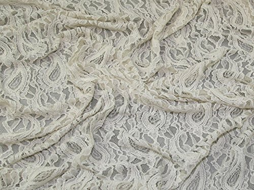 Paisley Design Stretch Spitze Kleid Stoff, Meterware, cremefarben