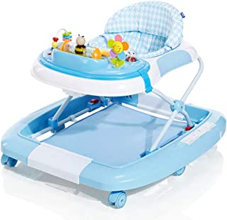 Foldable Baby Walker, 2 in 1 Musical Walker, Learning-Seated, Walk-Behind, Music, Adjustable Height, High Back Padded Sea...
