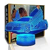 KangYD 3D Luz nocturna Super Racing Car, LED Lámpara de sueño de ilusión óptica, F- Base de audio Bluetooth (5 colores), Regalo de San Valentín, Lámpara de ilusión óptica