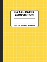 Graph Paper Composition: Lemon Yellow Composition Notebook, Grid Notebook, 100 Pages, Mathematics Graph Notebook for Math and Science Class