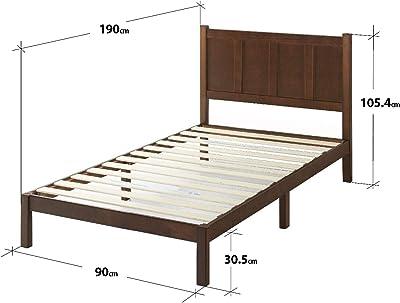 Zinus Lit à plate-forme de style rustique avec tête de lit Adrian Wood/ Lits Plateforme/ Pas besoin de sommier/ Soutien solide avec lattes en bois/ Montage facile/ 90 x 190 cm