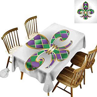 Fleur De Lis Rectangular tablecloths in a variety of colors and sizes Abstract Old Fashioned Lily Flowers with Grunge Look Pastel Colors Can be used for parties W70 x L95 Inch Mint Green Lilac White