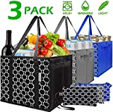 Washable Reusable Grocery Bags Heavy Duty Shopping Bags with Zip Coin Purse,Collapsible Shopping Box Bags,Reinforced Nylon Handles PVC Flat Bottom,Set of 3 Foldable Trolley Bags