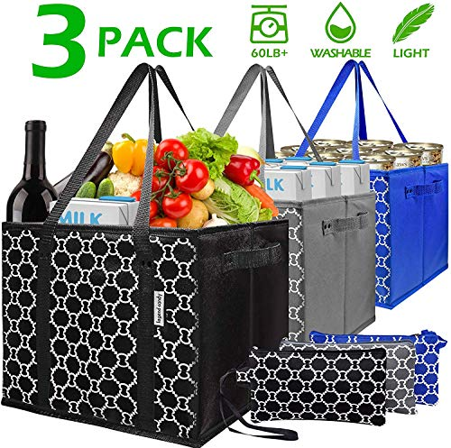 Washable Reusable Grocery Bags Heavy Duty Shopping Bags with Zip Coin PurseCollapsible Shopping Box BagsReinforced Nylon Handles PVC Flat BottomSet of 3 Foldable Trolley Bags