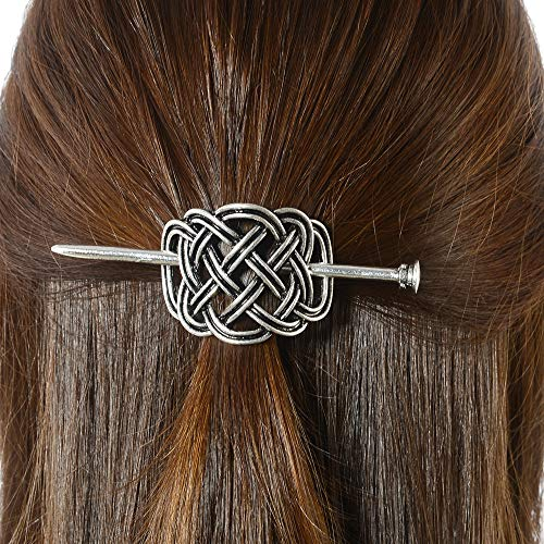 Viking Celtic Hair Hairpins Clips- Norse Celtic Knot Hair Accessories Hair Slide Hair Barrettes Irish Hair Decor for Long Hair Jewelry Braids Hair Stick With Celtic Knot Design