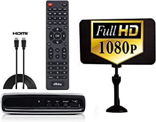 Exuby Digital Converter Box for TV w/Flat Antenna, HDMI Cable for Recording & Watching Full HD Digital Channels - Instant & Scheduled Recording, 1080P, HDMI Output, 7 Day Program Guide & LCD Screen
