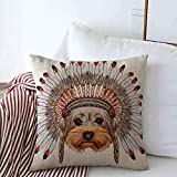 Lihaky Throw Pillow Case Drawn Cute Yorkshire Terrier Dog War Bonnet...