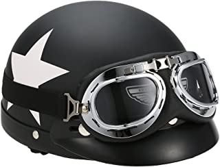 Docooler Helmet Half Open Face Motorcycle with Goggles Visor Scarf Biker Scooter Touring