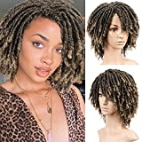 Lady Miranda Dreadlock Wig Mixed Brown Color Short Twist Wigs for Black Women Afro Curly Wig...