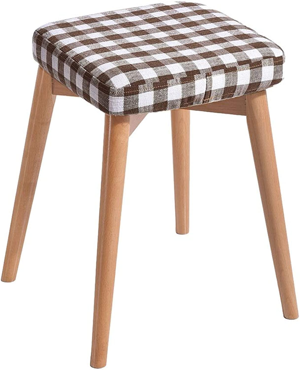Creative Fashion Bench Nordic Upholstered Stool Household Solid Wood Dressing Stool Chair for Kitchen Living Room Bathroom High Resilience Sponges Seat Height 75 cm - Lattice Style