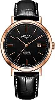 Rotary Mens Windsor Gold Tone Case Black Dial Leather Strap GS05319/04