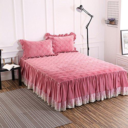 Bettvolant, Samt und Baumwolle, gesteppt, warm, dick, rose, 180x220cm(71x87inch)