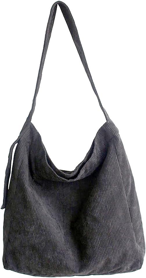 Umhängetasche Damen - Cord Schultertasche Groß Tasche, Lässige Tote Handtasche Fashion Ultraleicht Stofftasche für Alltag Büro Schulausflug und Einkauf